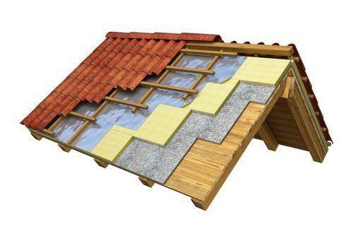 isolamento termico del tetto rendering 3D