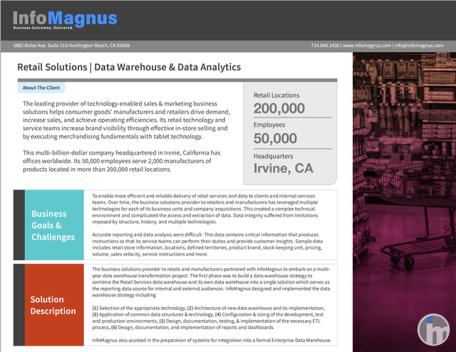 Data Warehouse and Analytics: Transforming The Retail Space