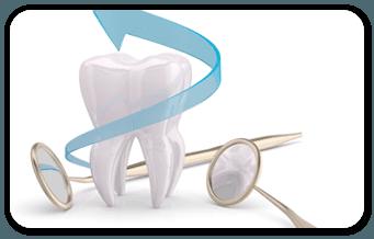 dente con due specchietti del dentista e freccia