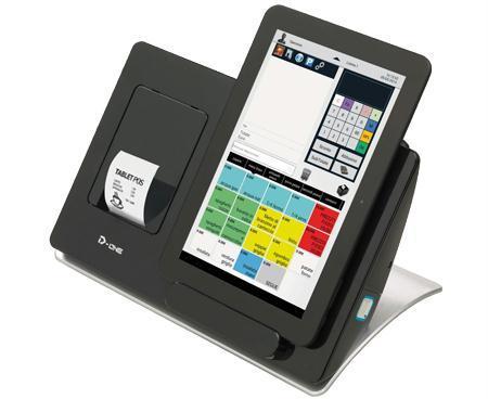 una cassa con monitor-tablet removibile e accanto uno scontrino che fuoriesce