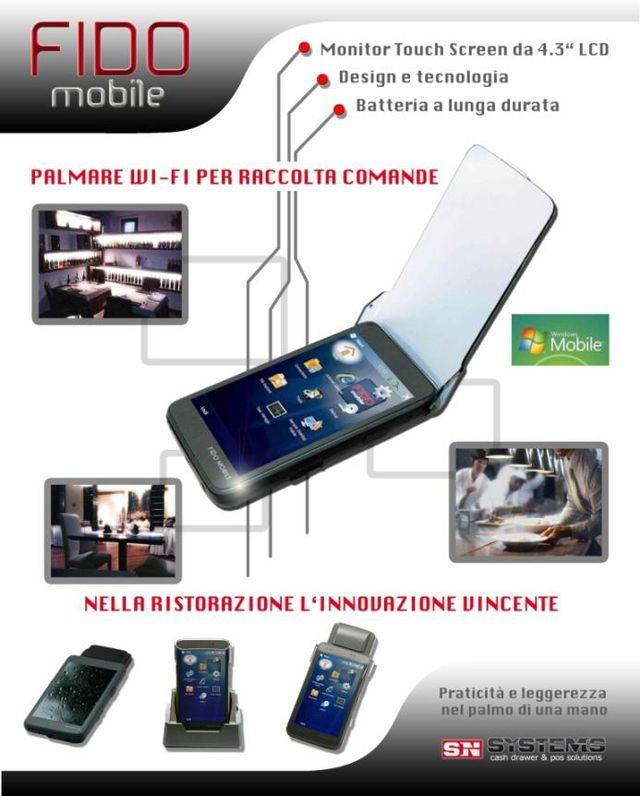 un depliant con scritto Fido Mobile e le immagini di un palmare wi fi e uno schermo touch screen