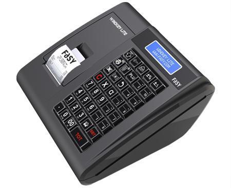 un registratore di cassa con un piccolo schermo lcd e sulla sinistra uno scontrino che sta per essere stampato
