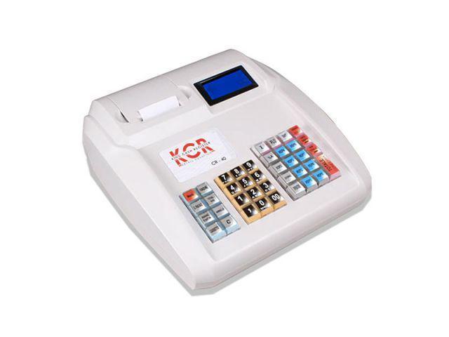 un registratore di cassa di color bianco con scritto KCR e un piccolo schermo lcd blu
