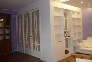 cabina armadio, parete con vetrata, mobili