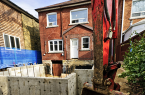 A house with building work being carried out