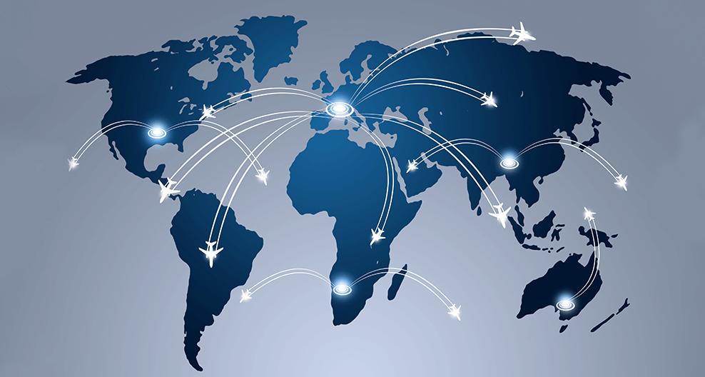 world map of flights