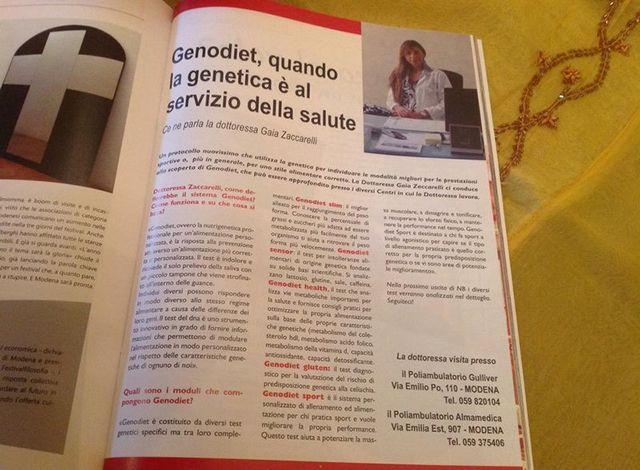 Un articolo nella rivista intitolato Genodiet quando la genetica e' al servizio della salute.