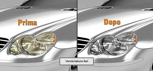 due immagini accostate di fari di una macchina priam e dopo la lucidatura