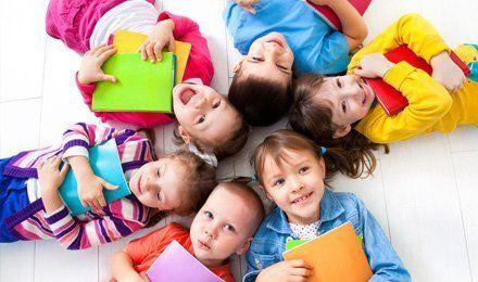 children play school