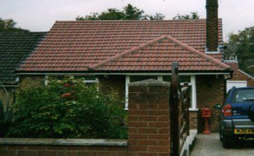 TIled roof with chimney