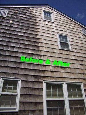 H2O Softwash cleaning natural wood homes