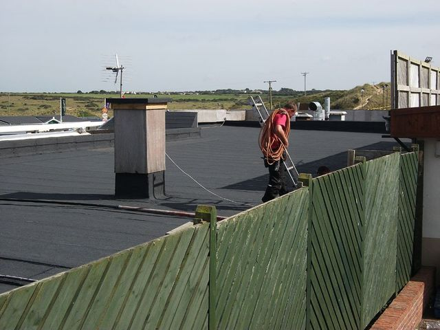 A team member up on a Felt Roof