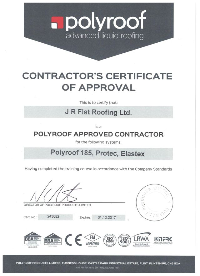 A POLYROOF Contractor's Certificate