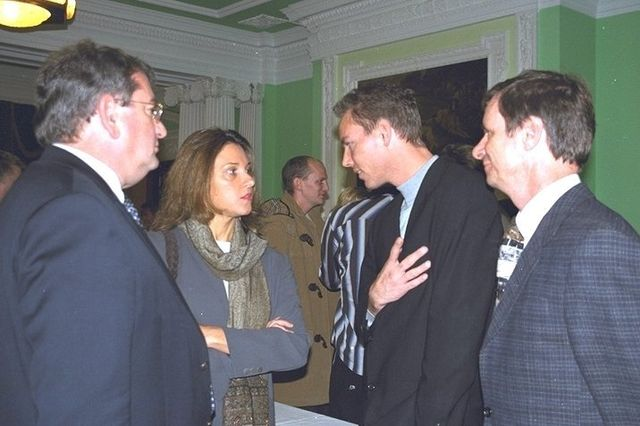 Martijn Mulder and Dirk Kloosterboer talking to Barbara Broccoli at Pinewood Studios