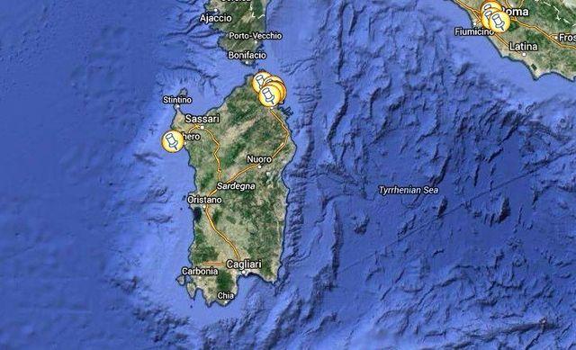 Sardinia locations map