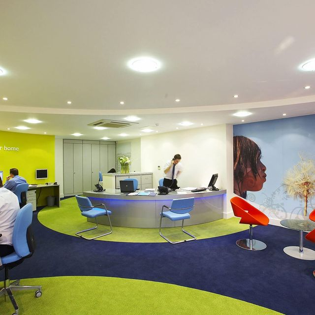 carpeted office area