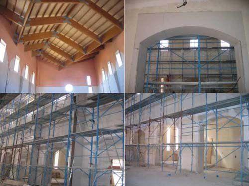 quattro immagini relative alla ristrutturazione di un edificio