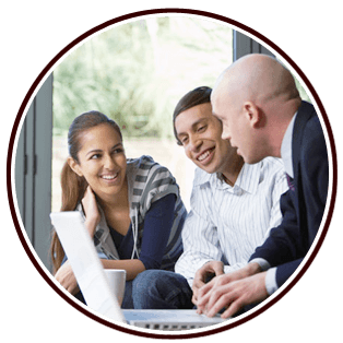 a couple discussing with accountant