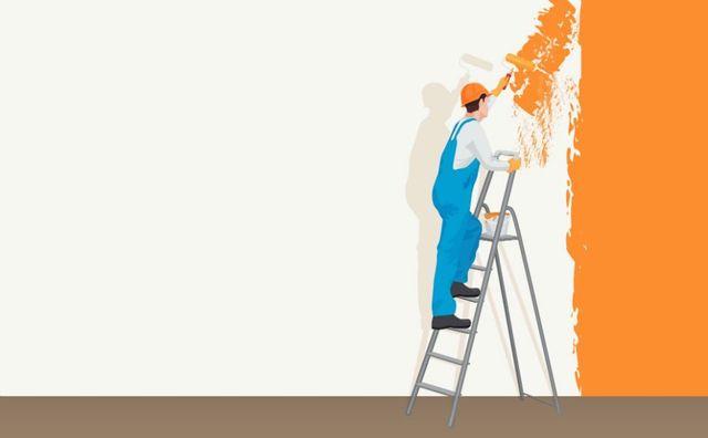 il disegno di un imbianchino al lavoro su una scala
