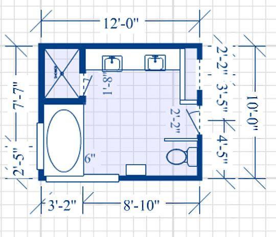 Blueprint of a bathroom