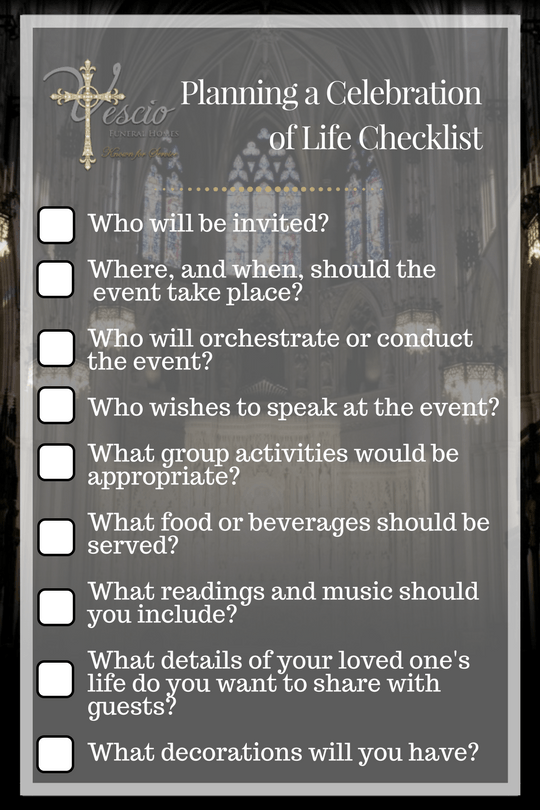 planning a celebration of life checklist