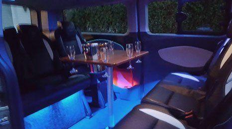 dining inside the minibus