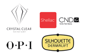 Industry logos: Crystal Clear Skincare Shellac CND OPI Silhouette Dermalift