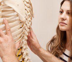 patient looking at the human bones