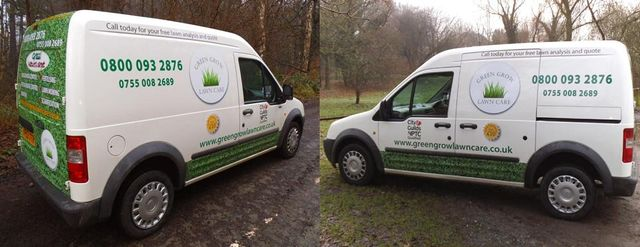 Green Grow Lawn Care service vehicle