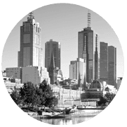 Melbourne greyscale circle icon