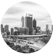 Perth greyscale circle icon