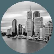 Brisbane greyscale circle icon