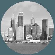 Sydney greyscale circle icon