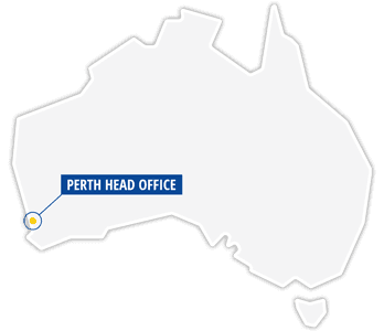 Australia map with perth