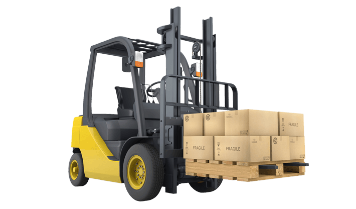 Forklift carrying boxes used for our warehousing services