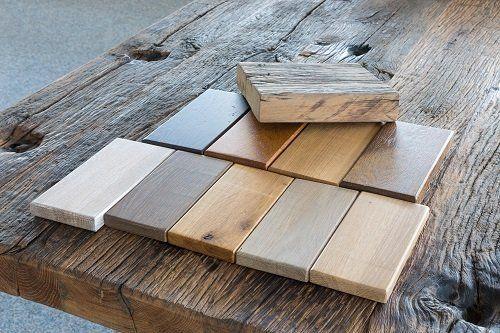 Campioni di diversi tipi di legno