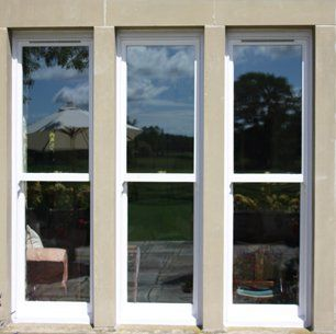 Triple window with white uPVC frames
