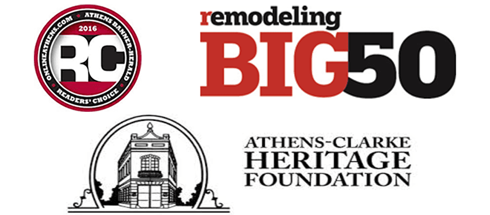 Remodeling Big50 Logo, Athens-Clarke Heritage Foundation Logo & Reader's Choice Award 2016 Logo
