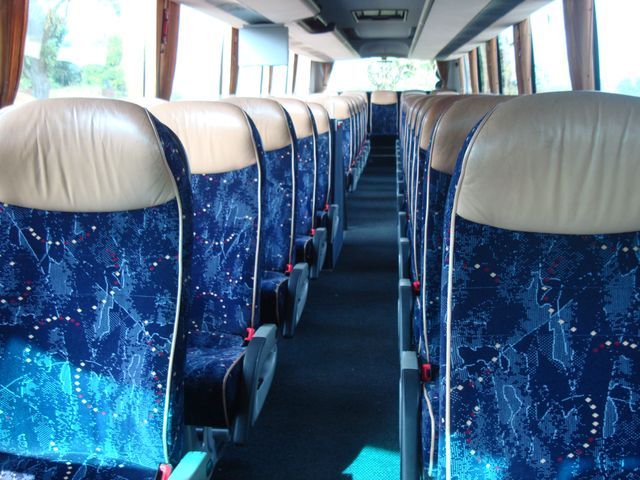 inside view of blue coach seats