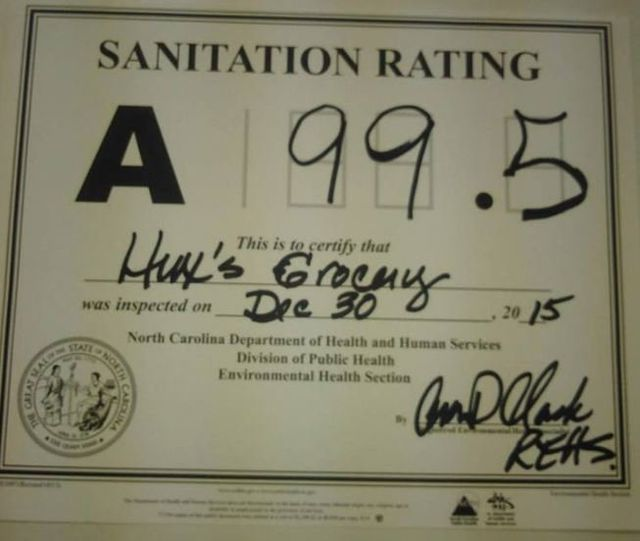 Sanitation rating certificate
