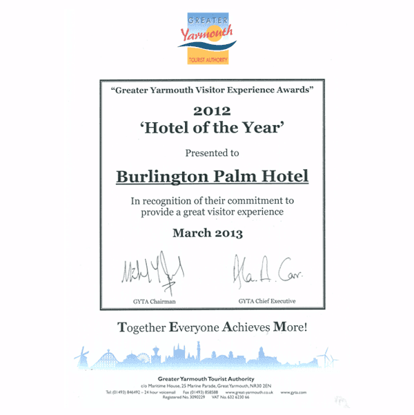 Certificate for Hotel of the Year