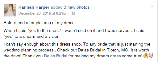 Thank you Dala's Bridal Boutique!