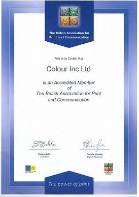 Colour Inc Ltd BAPC Membership Certificate
