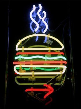 Neon burger sign