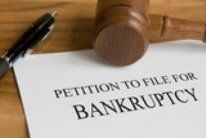 Bankruptcy papers and gavel