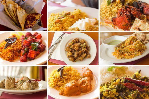 Varietà di popolari piatti di cucina indiana in immagini collage