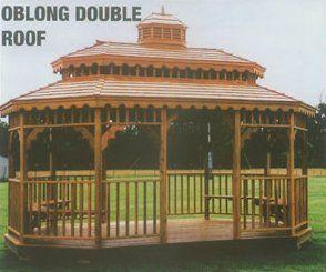 oblong double roof gazebo in arkansas