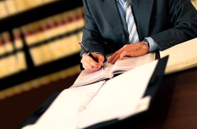 Professional lawyer preparing document of a case