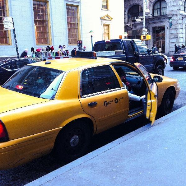 exiting a taxi