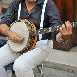 A man playing banjo